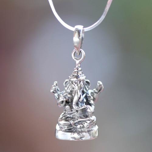 Sterling Silver Hindu Pendant Necklace 'Shining Lord Ganesha'