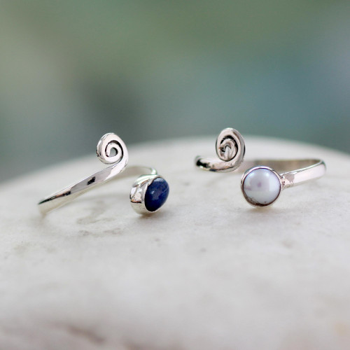 Pearl and Lapis Lazuli Sterling Silver Toe Rings Pair 'Perfection'