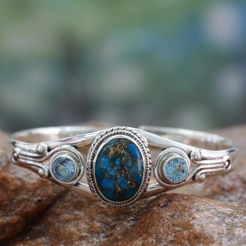 Handmade Blue Topaz Bracelet with Composite Turquoise 'Azure Heavens'
