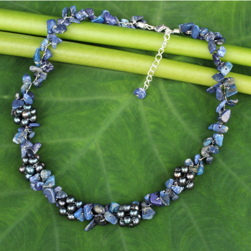 Thai Handmade Lapis Lazuli Necklace with Pearl Clusters 'Heaven's Gift'