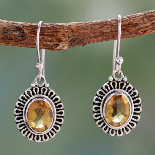India Artisan Crafted Faceted Citrine Earrings 'Golden Charm'
