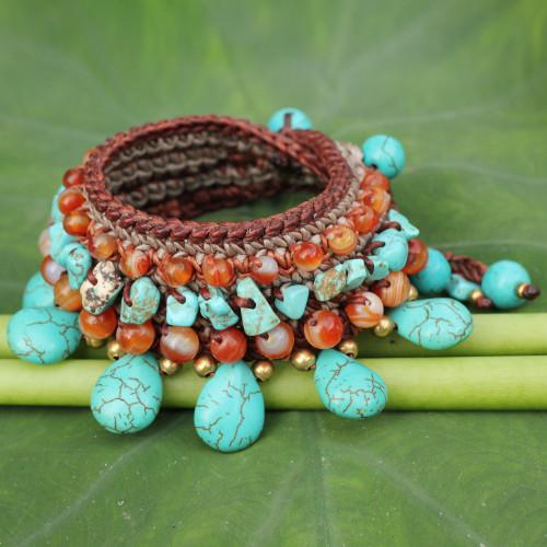 Carnelian Crocheted Beaded Wristband Bracelet 'Dawn Seas'