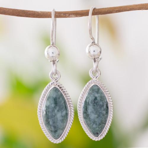 Artisan Crafted Silver and Dark Jade Earrings 'Green Gaze'