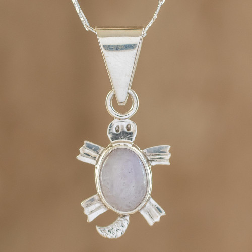 Artisan Crafted Lilac Jade Turtle Necklace 'Lilac Marine Turtle'