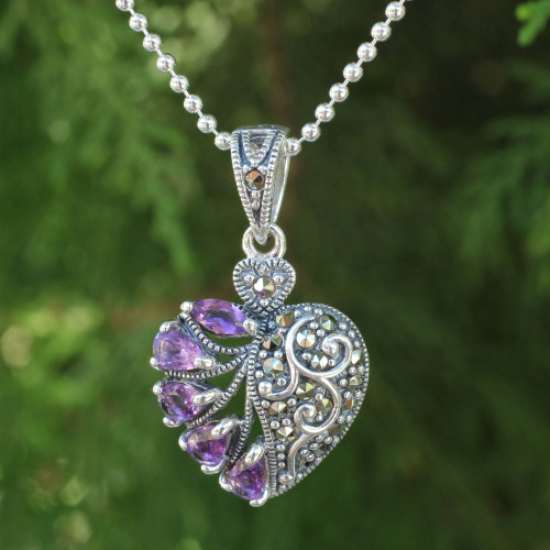 Amethyst Marcasite and Sterling Silver Heart Necklace 'Spectacular Romance'