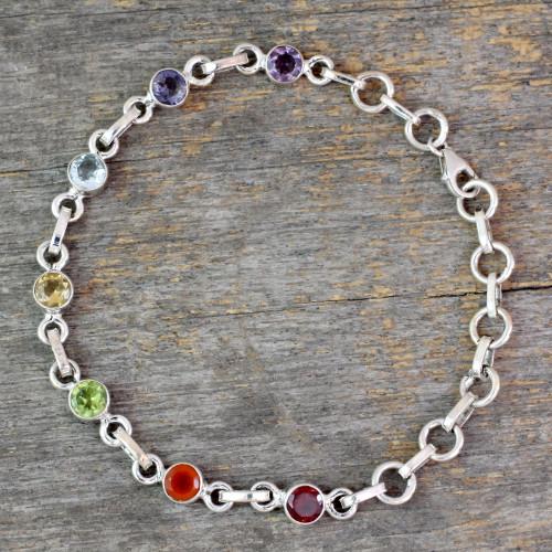 Sterling Silver Bracelet Multi Gemstone Chakra Jewelry 'Inner Space'