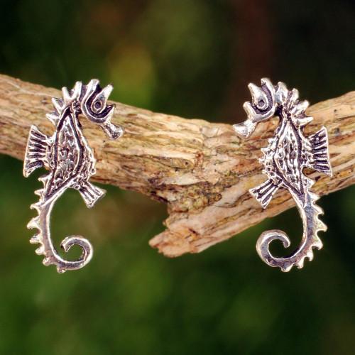 Seahorse Sterling Silver Earrings 'Seahorse'