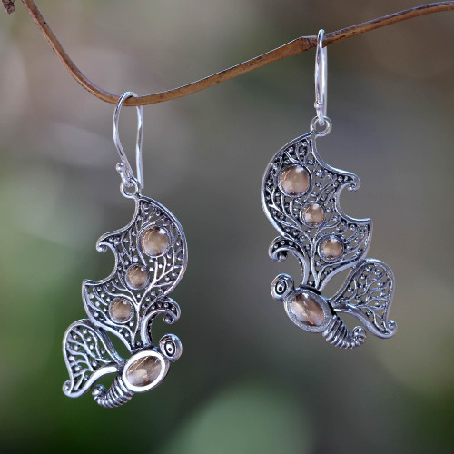 Gold Accent Silver Butterfly Earrings 'Monarch Splendor'