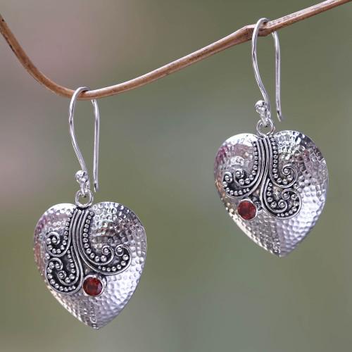 Sterling Silver Heart Earrings with Garnet 'Love's Story'