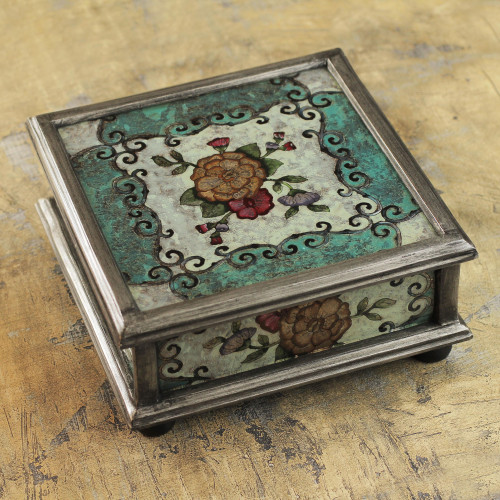 Andean Reverse Painted Glass Box with Flowers 'Vintage Blossom'
