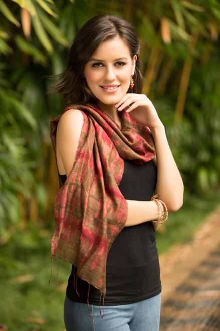 Hand-spun Silk Tie Dye Scarf 'Siam Adventure'