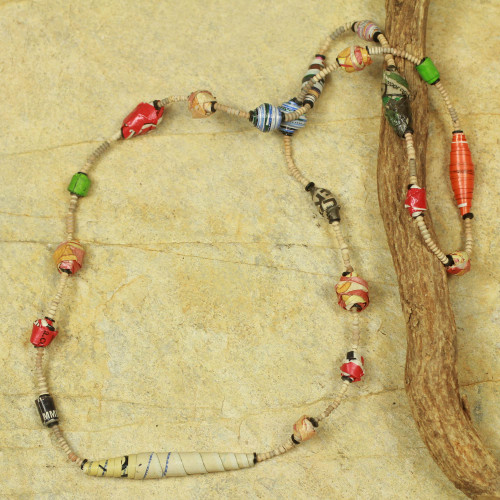 Recycled Paper Handmade Necklace 'Festival in Accra'