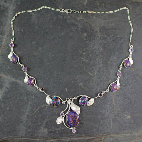 Purple Turquoise and Amethyst Handmade Necklace from India 'Dew Blossom'