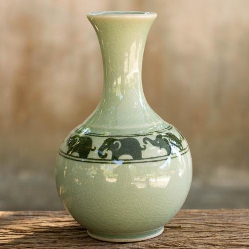 Green Celadon Narrow Neck Elephant Vase from Thailand 'Green Prancing Elephants'