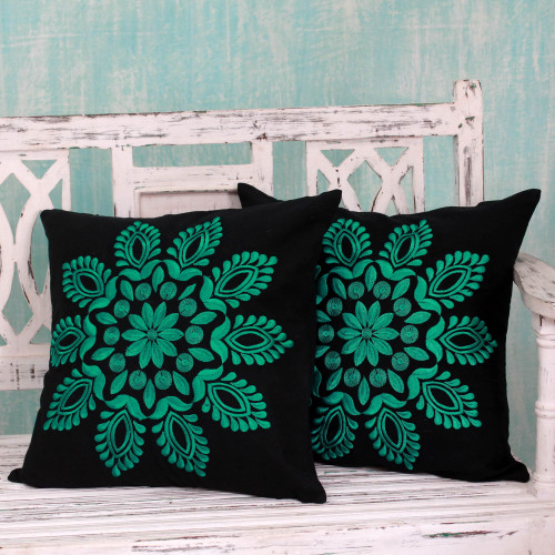 Teal and Black Embroidered Floral Cushion Covers Pair 'Teal Splendor'