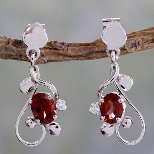 2 Carat Garnet and Sterling Silver Earrings 'Pure Love'