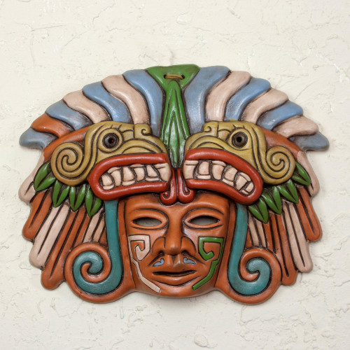 Handcrafted Ceramic Mask from Teotihuacan 'Quetzalcoatl in Teotihuacan'