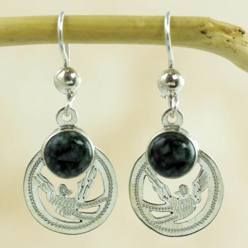 Handmade Jade and Sterling Silver Earrings 'Quetzal Patriot'
