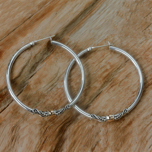 Sterling Silver Hoop Earrings with Golden Accents 'Celuk's Kencana'