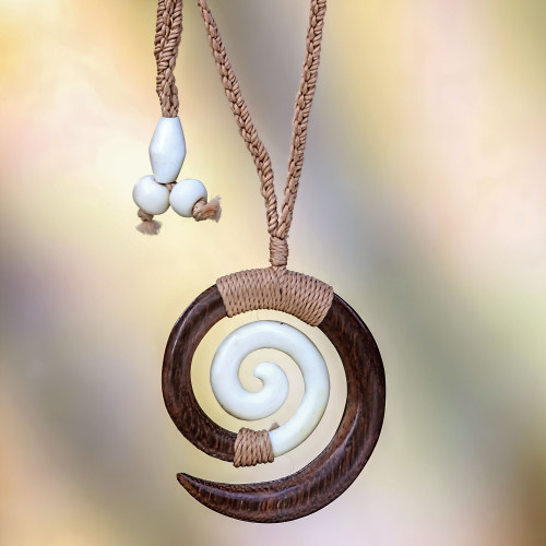 Hand Carved Wood and Bone Macrame Necklace 'Hypnotic Borneo'