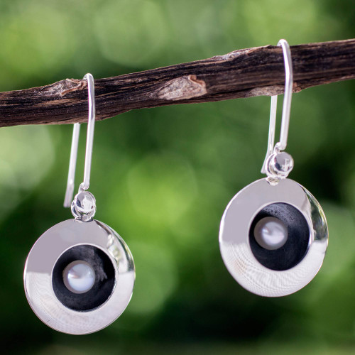 Taxco Silver Earrings with Cultured Pearl 'Moon Intrigue'