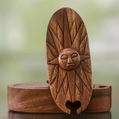 Sunshine Theme Wood Puzzle Box 'Balinese Sun'