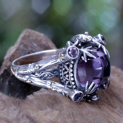 Amethyst Sterling Silver Ring with Gold Accents 'Tropical Frogs'