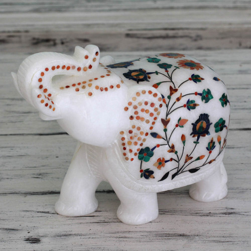 Hand Crafted Marble Inlay Elephant Sculpture 'Elephant Fortunes'