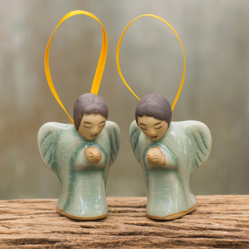Two Handcrafted Thai Celadon Ceramic Angel Ornaments 'Angels at Prayer'