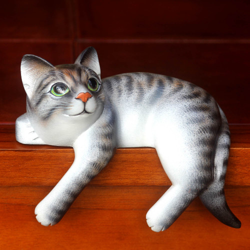 Signed Balinese Tabby Cat Sculpture 'Tabby Cat Relaxes'