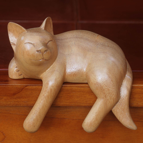 Signed Balinese Tabby Cat Sculpture 'Smiling Cat Relaxes'