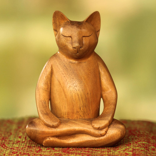 Lotus Position Yoga Cat Carving 'Ginger Cat Does Yoga'