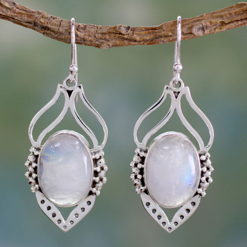 Rainbow Moonstone Jewelry Indian Sterling Silver Earrings 'Passion Leaf'