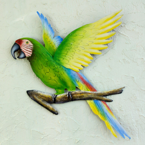 Handmade Green Macaw Wall Sculpture 'Military Macaw'