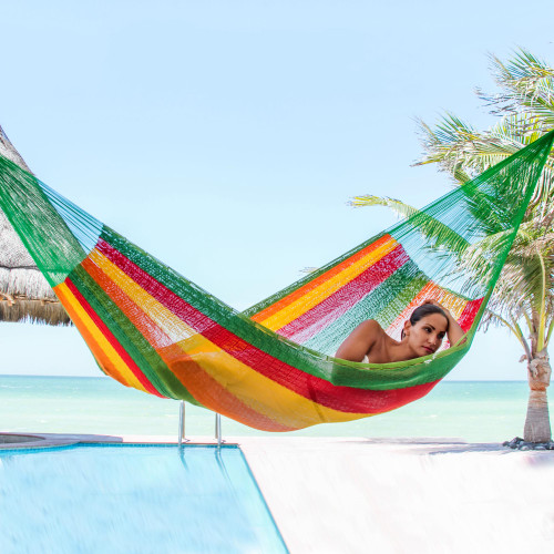Green and Yellow Cotton Maya Hammock with Red Trim 'Colima'