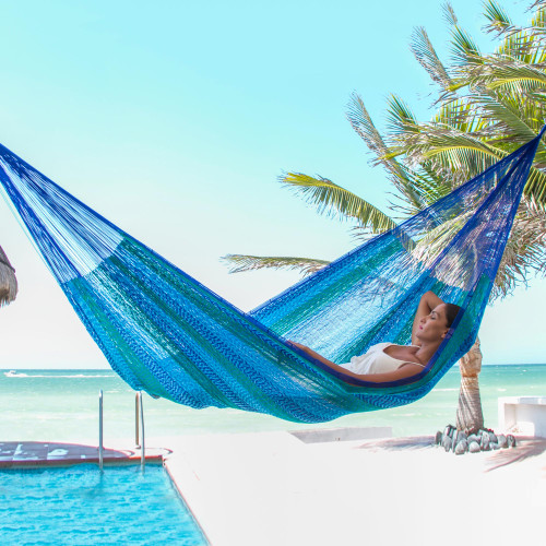 Handmade Blue Cotton Maya Hammock from Mexico 'Huatulco'