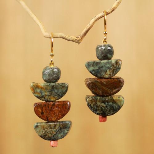 Artisan Crafted Natural Soapstone Beaded Hook Earrings 'Nkabom'