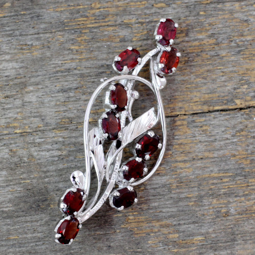 Floral Garnet and Sterling Silver Brooch Pin from India 'Elegant Passion'