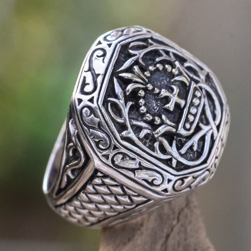 Men's Sterling Silver Cross Signet Ring 'Cardinal'