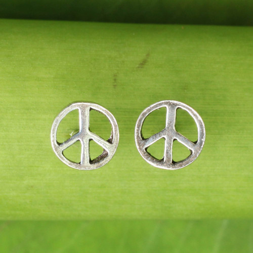 Sterling Silver Peace Symbol Stud Earrings from Thailand 'Peace Sign'