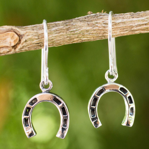 Thai Handcrafted Horseshoe Earrings in Sterling Silver 'Good Luck Horseshoes'