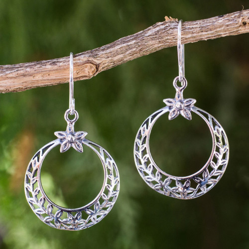 Laurel Wreath Victory Theme Earrings in Sterling Silver 'Sweet Victory'