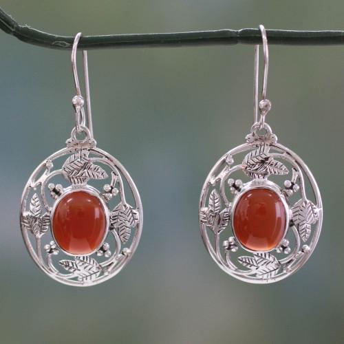 Fair Trade Sterling Silver Carnelian Earrings 'Fiery Avatar'