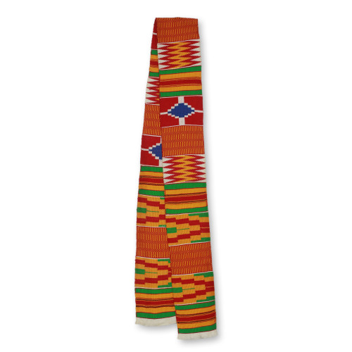 1 Strip Handwoven Red Yellow Green African Kente Scarf 'Shield'