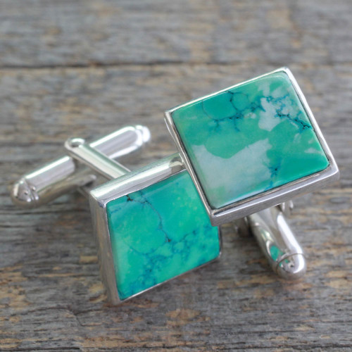 Sterling Silver Cufflinks with Reconstituted Turquoise 'Opportunity'