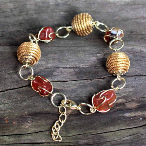 Hand Crafted Golden Grass and Agate Link Bracelet 'All Aglow'