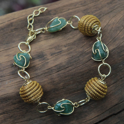 Hand Crafted Green Agate and Golden Grass Link Bracelet 'All Aglow in Green'