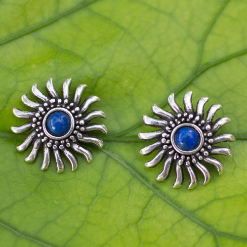 Sterling Silver and Lapis Lazuli Handcrafted Button Earrings 'Mexican Suns'