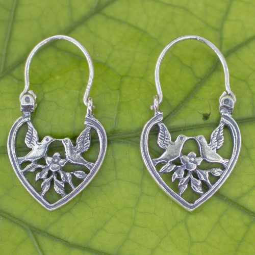 Heart Shaped Silver Hoop Earrings with Birds and Flowers 'Love on the Wing'