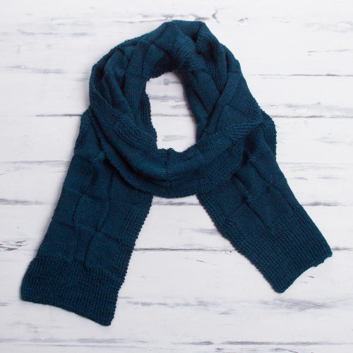 Men's Teal Blue Baby Alpaca Knitted Scarf from Peru 'Teal Blue Chessboard'